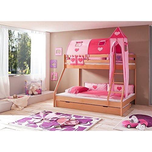 Relita Etagenbett Mike inkl. Bettschubladen und 4 TLG. Textils.pink/rosa,Buche massiv Natur lackiert