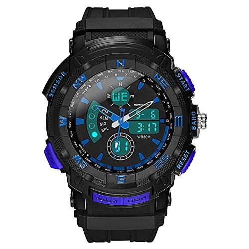 AZPINGPAN Reloj para hombre, multifuncional, militar, analógico, mecánico, resistente al agua, para hombres, reloj militar, deportes, estudiante, doble pantalla, movimiento de cuarzo, reloj de pulsera