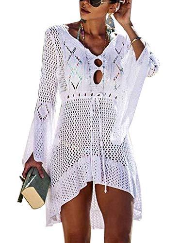 Walant Femmes Robe de Plage Manches Évasées Maillot de Bain Sexy Tricot ajouré au Crochet Taille Tunique Cache-Maillots Bikini Poncho Blouse Été Cover Up, Blanc, Taille unique