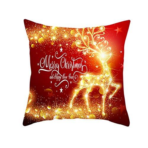 Beydodo Fundas Grandes Cojin Navidad,1 Pieza de Fundas de Cojines Funda Cojin Navidad 50X50,Ciervo con Luces Merry Christmas and Happy New Year Oro Rojo