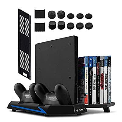 Younik PS4 Vertical Stand Cooling Fan, Dual Controllers Charging Station, 14 Slots Game Storage and 3 Port USB Hub. The All-in-One Stand for your PS4 / PS4 Slim by Younik Tech
