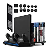 Younik PS4 / PS4 Slim Supporto Verticale con Ventola di Raffreddamento, Ventole Ricarica per Dual Controller , 14 Slot Game Storage e 3 Porte USB per Playstation 4 / Playstation 4 Slim