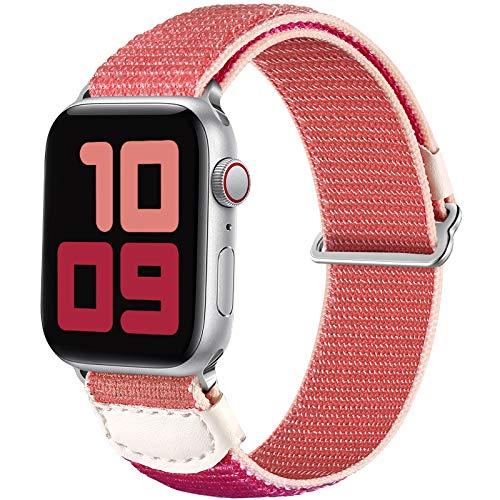 JUVEL Compatible con Apple Watch Correa 44mm 42mm, Correa Deportiva de Nylon Transpirable Muñequeras de Repuesto Compatibles con Apple Watch SE/iWatch Series 6/5/4/3/2/1, Rosa