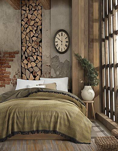WSHFOR Alvine Flanell Tagesdecke Überwurf Decke - Warme Wohndecke ideal für Bett und Sofa, 100% Baumwolle 185x235cm (Gelb)
