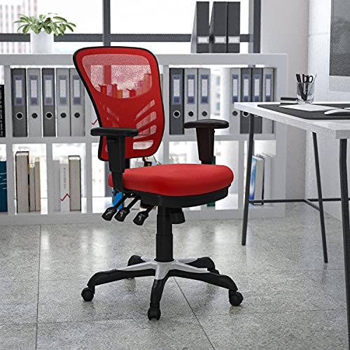 Flash Furniture Mid-Back Red Mesh Sedia Girevole da Ufficio con Controllo Triplo