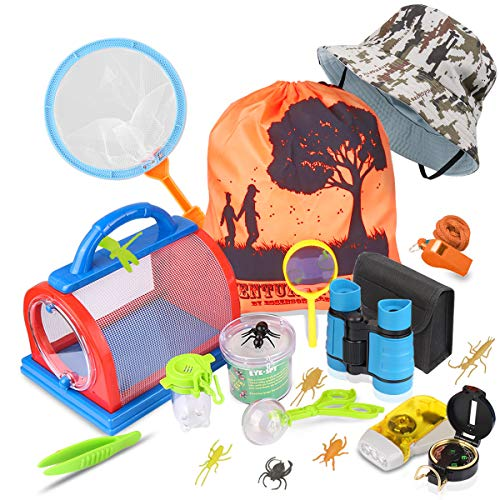 Draussen Forscherset & Bug Catcher Kit 20 Stück mit Kinder fernglas, Kompass Lupe, Insect Critter Käfig, Schmetterlingsnetz, Adventurer Set Geschenke für 3-10 Jahre Junge Spielzeug