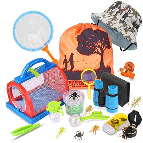 Draussen Forscherset & Bug Catcher Kit 20 Stück mit Kinder fernglas, Taschenlampe, Kompass Lupe, Insect Critter Käfig, Schmetterlingsnetz, Adventurer Set Geschenke für 3-10 Jahre Junge Spielzeug