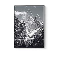 ノルディックの幾何学的線抽象的な壁の壁のアートキャンバス絵画プリントブラックホワイトポスターリビングルームモルデン契約の家の装飾 (Color : B, Size (Inch) : 50X70cm No Frame)