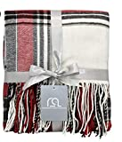 Plaid Throw Blanket 50 x 60 Inch Decorative Classic Blanket – Comfortable and Ultra-Soft – Ideal for Living Room, Couch, Travelling (50'x60', Ivory Multi) (50'x60', Ivory Multi)