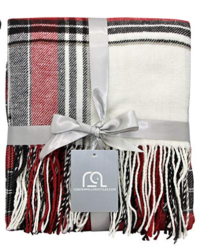 Plaid Throw Blanket 50 x 60 Inch Decorative Classic Blanket – Comfortable and Ultra-Soft – Ideal for Living Room, Couch, Travelling (50'x60', Ivory Multi)