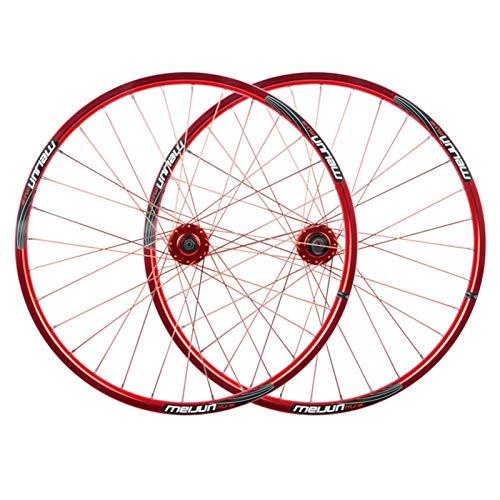 MZPWJD MTB Scheibenbremsradsatz 26 Zoll Mountainbike Fahrradfelgen QR Für 7/8/9/10 Geschwindigkeit Kassette 32 Sprach (Color : Red, Size : 26