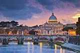 YUJH Rompecabezas 1000 Piezas de Rompecabezas de Madera Rompecabezas Roma Italia Catedral del Vaticano Basílica Puente sobre el río Noche Juego para niños Art Deco Regalo Paisaje