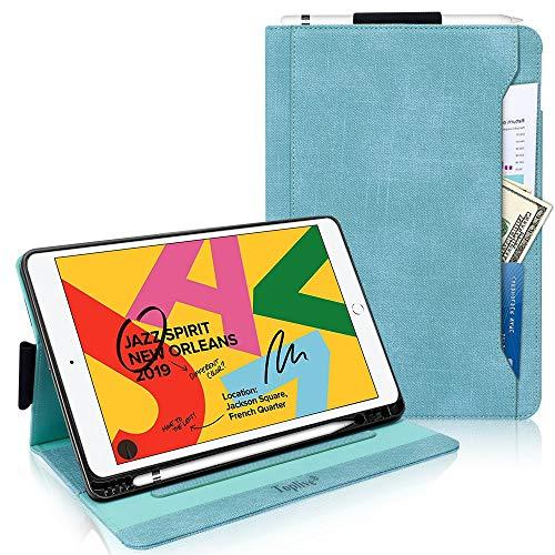 Toplive Neue iPad 10.2 Hülle (2019), Canvas Stand Folio Hülle für iPad 7th Generation 10.2 '' 2019 mit Apple Pencil Holder, Auto Sleep Wake Funktion und Mehreren Betrachtungswinkeln,minzgrün