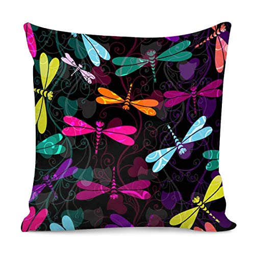 Petoske Color Dragonfly Printed Throw Pillow Covers Home Bedroom Living Room Decorative Gifts Square Pillow Case, 18' x 18'