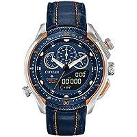 Citizen Eco-Drive Promaster SST Quartz Men's Stainless Steel Watch with Leather Strap (Blue) (Model: JW0139-05L)