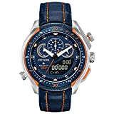 Citizen Eco-Drive Promaster SST Quartz Mens Watch, Stainless Steel with Leather strap, Blue (Model: JW0139-05L)