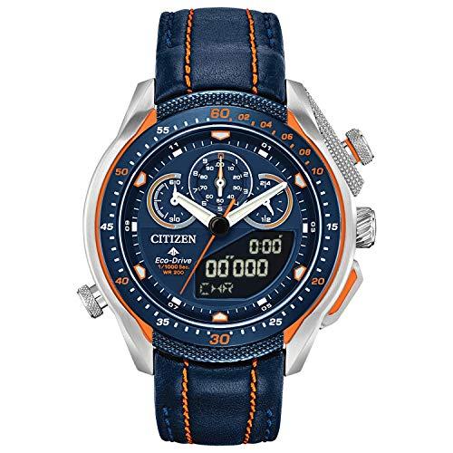 Citizen Eco-Drive Promaster SST Reloj de cuarzo para hombre, acero inoxidable con correa de piel, azul (Modelo: JW0139-05L)
