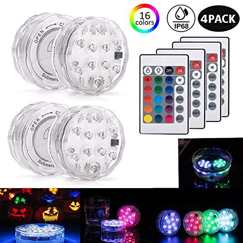 Unterwasser Licht mit Fernbedienung, 4 Stück RGB Multi Farbwechsel Wasserdichte LED Unterwasserlicht Teichbeleuchtung poolbeleuchtung für Vase Base Party, Weihnachten, Schwimmbad, Hochzeit