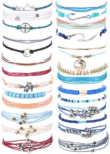 Subiceto 7 Set Wave Strand Vsco Bracelets for Women Waterproof Handcrafted Handmade Braided product image