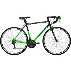 """steel frame ; 21-speed Alloy caliper brakes ; Shimano derailleur and Shiamno Revo shifts Alloy Brake levers ; Seat: Vitesse racing seat Tires: high-performance 700C tires ; Pedals: standard Weight limit: 250 lbs ; Assembled dimensions: 69"""" x 18"""" x 38..."""