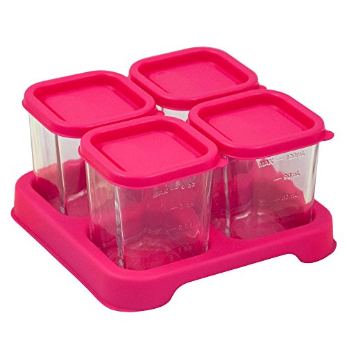 Green Sprouts Reusable Baby Food Glass Containers Freezer Cubes (4oz/4pk)-Pink