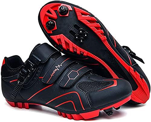 KUXUAN Zapatillas de Ciclismo MTB para Hombre Zapatillas de Bicicleta de Montaña SPD Zapatillas de Ciclismo Al Aire Libre Transpirables con Tacos SPD,Red-5UK=(240mm)=38EU