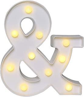 AmmToo LED Letter Lights, Light Up Night Lights Sign 26 Alphabet Lights Indoor Decoration for Halloween Night Light, Wedding, Birthday Party, Christmas, Home Bar Wall Decor (&)