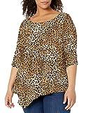 Star Vixen Women's Plus-Size Elbow-Cinch Sleeve Hanky Hem Top, Leopard Print, 1X