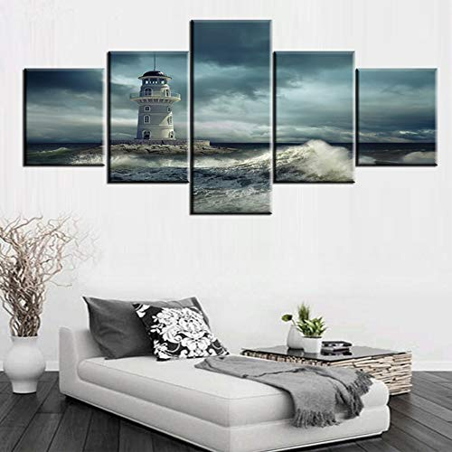 Lighthouse Canvas Wall Art Tropical Seascape Pictures Fantasy Ocean Scenery Paintings Modern Artwork 5 Panels Living Room Country Home Decor Framed Ready to Hang Posters and Prints(50''Wx24''H)