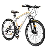 Max4out Mountain Bike 21 Speed Shimano with High Carbon Steel Frame, 26 inch Wheels, Double Disc Brake, Front Suspension Anti-Slip Bike, Sliver