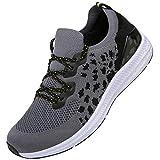 KOUDYEN Zapatillas Deporte Hombres Mujer Gimnasio Running Zapatos para Correr Transpirables Sneakers,XZ581-Goldgrey-EU45