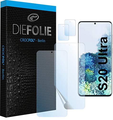 Crocfol Schutzfolie vom Testsieger [2 St.] kompatibel mit Samsung Galaxy S20 Ultra- selbstheilende Premium 5D Langzeit-Panzerfolie inkl. Kamera Schutzfolien (Casefit)
