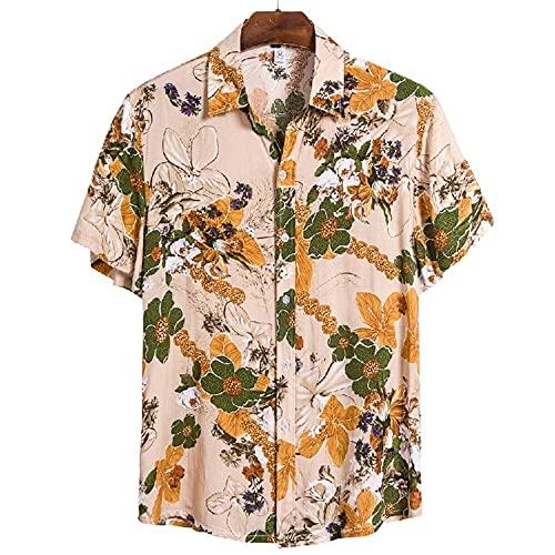 Camiseta Hombre Moderna Urbana Tendencia Moda Estampado Holgado Hombre Casuales Camisa Verano Botón Placket Manga Corta Diario Casual Vacaciones All-Match Hombre Shirt CS118 L