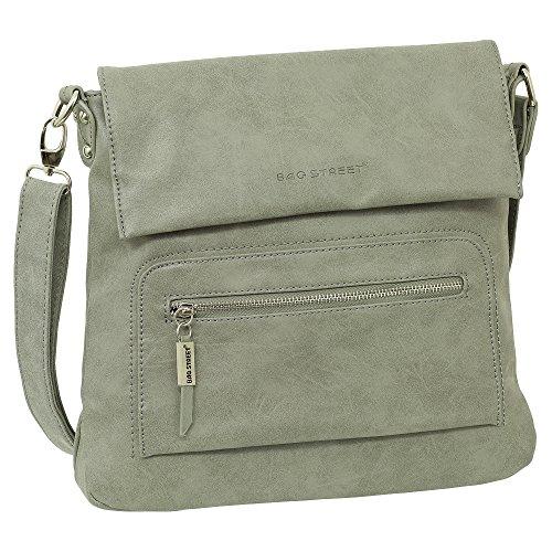 Geschenkset - Handtasche Schultertasche Umhängetasche Wildleder-Imitat Used Look Farbe Grau