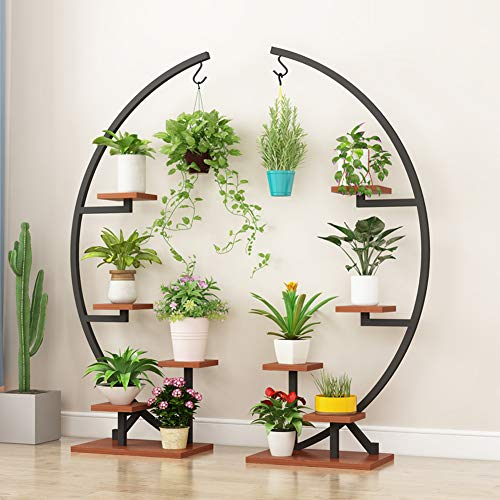 5 Tier Metal Plant Stand Pack of 2, Indoor Metal Plant Shelf Stand Decorative Bonsai Flower Shelves Pot Holder, Multi-Purpose Curved Metal Display Rack for Garden, Patio, Balcony, Home Decor (Black)