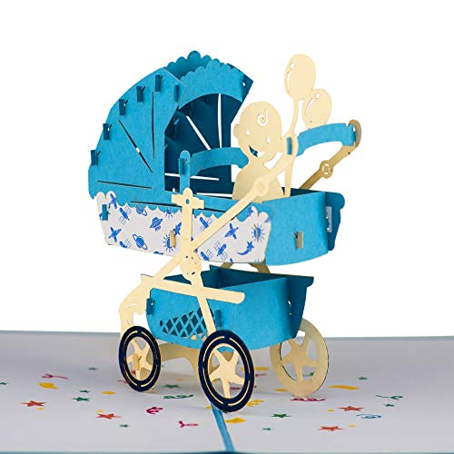 Baby Shower Pop Up Card for Boy or Girl by Devine Cards   New Baby Pram Congratulations Card   Welcome Home Baby Shower Card   3D Gift Card Thank You Love Popup Cards   Congratulations Baby Card