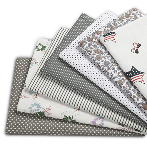 XiYee Tissus en Couture, 7 pièces Tissus en Coton pour Patchwork, Paquets de Tissus pour Patchwork et Patchwork de, Tissu au Metre Patchwork Multicolore (50 x 50 cm 04)