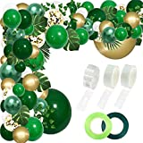 RUBFAC 152pcs Jungle Party Balloons Arch Green Balloons Arch Dinosaur Party Decoration with Artificial Tropical Palm Leaves for Jungle Party, Birthday Party, Animal Party