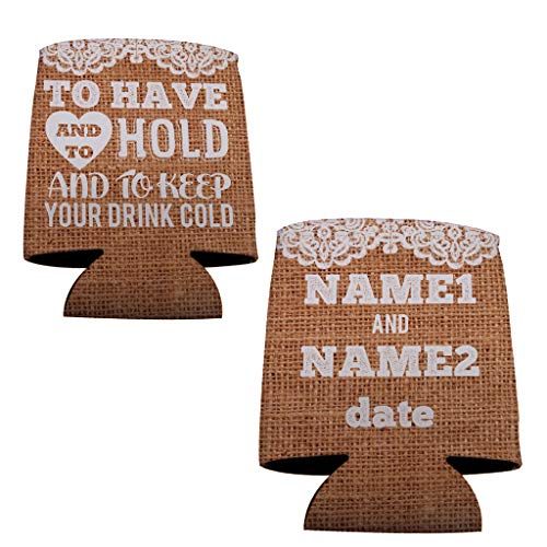 VictoryStore Can and Beverage Coolers: Custom Rustic Burlap To Have And To Hold Wedding Can Coolers (100)