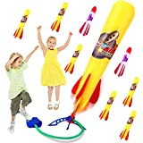 Rocket Launcher LED Air Rocket Set with 6 Pieces Foam Rocket 2 Pieces LED Rockets for Boys and Girls Outdoor Activities