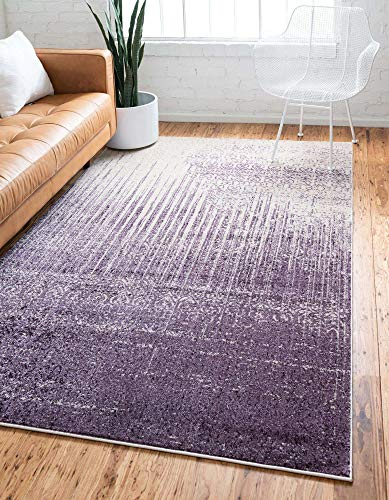 Unique Loom Del Mar Collection Area Rug- Transitional Inspired with Modern Ombre Print (3' 3 x 5' 3 Rectangular, Purple/ Ivory)