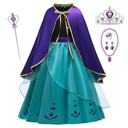 O.AMBW Traje Azul Disfraz Anna para Niñas Vestido Princesa Frozen Cosplay Princesa Reina Nieve Disfraz con Capa Complementos Lujo Fiesta Cumpleaños Festival CarnavalHalloween Regalo Navideño