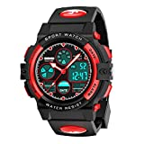 Kids Digital Watch Age 5-15, Red Watches for Girls Boys, Sports Waterproof Watches for Kids Birthday...