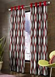 Reliable Blackout Trends Eyelet Jute Panel Curtain for Window (Maroon, 4x5 Feet)- 1