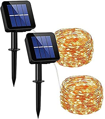 Dream Master Solar Powered String Lights, 33ft 100LED Outdoor String Lights,Starry String Lights,Waterproof Decorative String Lights for Patio, Garden, Gate, Yard, Party, Wedding, Christmas 2 pack