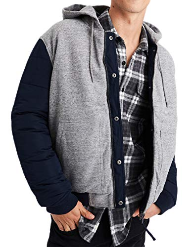 American Eagle Mens 1095-410 Reversible Hooded Bomber Jacket Coat Navy Blue Grey (Large)