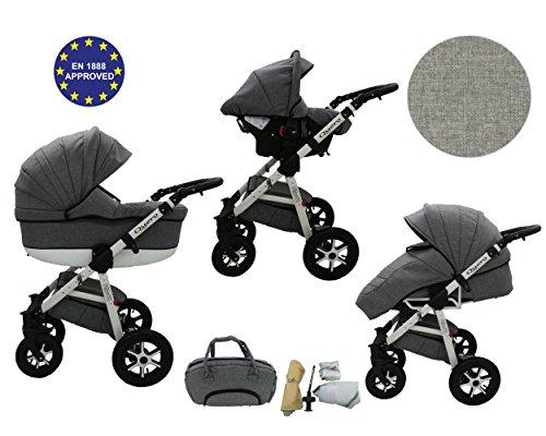 QUERO Lin Matériau - Landau pour bébé + Siège Auto - Poussette - Système 3en1 + Accessoires (Système 3en1, Lin Matériau N ° 1)