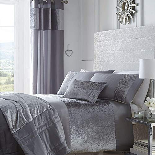 Boulevard Velvet Strip Quilt Duvet Cover and 2 Pillowcase Bed Set, Polyester, Grey, Double