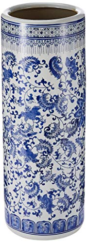 Oriental Furniture 24' Floral Blue & White Porcelain Umbrella Stand