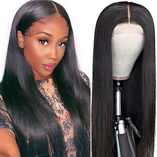 Straight Lace Front Wigs Human Hair for Black Women 4×4 Lace Closure Wigs Brazilian Virgin Human Hair Wigs Pre Plucked with Baby Hair Natural Color(20Inch)